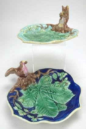 Majolica squirrel and bird trays, various conditions