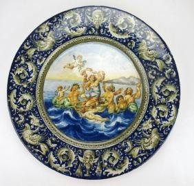 Italian Majolica large scenic plaque with mythological