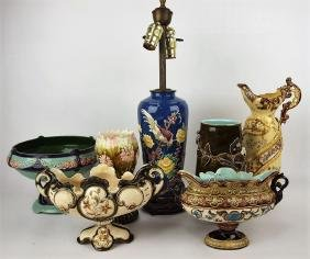 Majolica lot of 7 compotes, vases, & lamp, various