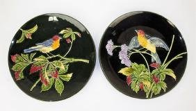 """Majolica pair of bird plaques, 11"""""""