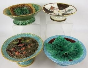 Majolica lot of 4 compotes