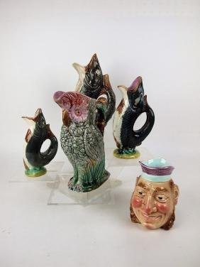 Majolica lot of 5 figural pitchers: 3-fish, parrot, &