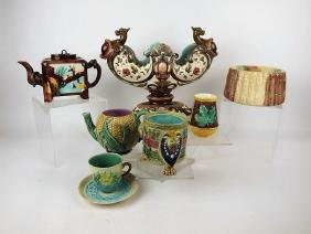 Majolica lot of 7 assorted pieces, various conditions