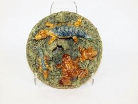 "Mafra Palissy Majolica 7"" plaque with salamanders (one"