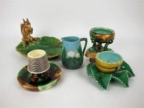 Majolica lot of 5 pieces, various conditions, Minton,