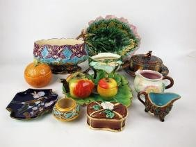 Majolica lot of 11 assorted pieces, various conditions