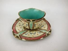 Wedgwood Majolica bowl and stand with angels and