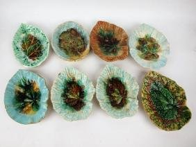 Majolica lot of 8 begonia dishes, various conditions