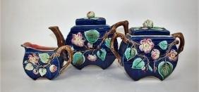 Majolica cobalt & floral flat sided 3 piece teaset