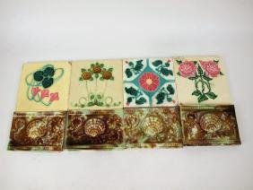 Majolica lot of 8 tiles, various conditions