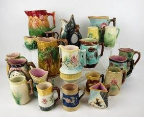 Majolica lot of 21 pitchers & creamers, various