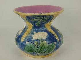 Etruscan Majolica cobalt water lily spittoon