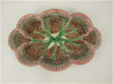 "Etruscan Majolica shell & seaweed 14"" platter, nicks to"