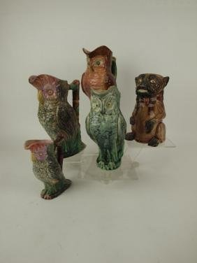 Majolica lot of 5 figural pitchers, various conditions