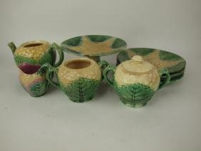 Etruscan Majolica lot of 9 cauliflower pieces, various