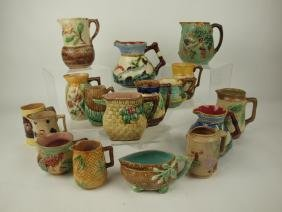 Majolica lot of 17 pitchers & creamers, various