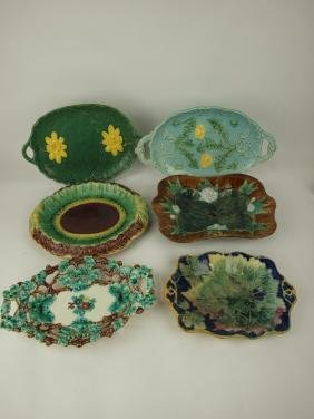 Majolica lot of 6 platters, various conditions