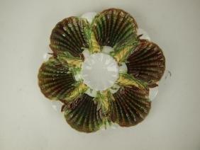 George Jones mottled Majolica 6 well oyster plate, 8
