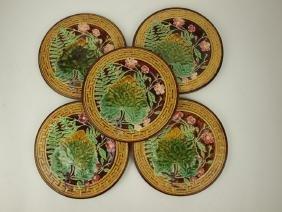 "Choisy le Roi Majolica set of 5-8 3/4"" leaf, floral, &"