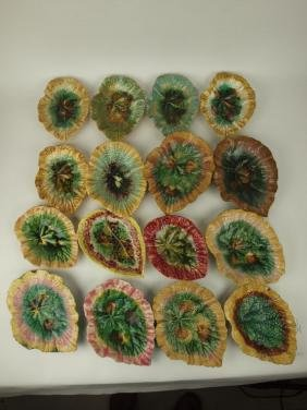 Majolica lot of 16 begonia leaf dishes, various