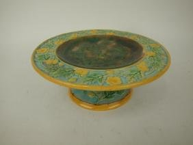 """George Jones Majolica compote with floral rim, 7 1/2"""" d"""