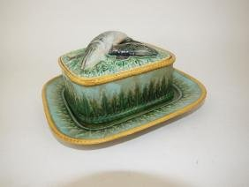 George Jones Majolica acanthus leaf sardine box and