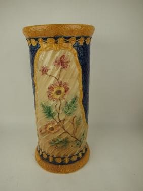 Majolica floral umbrella stand with cobalt accent 22""
