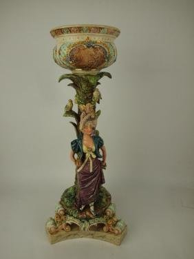 Majolica large Continental figural jardiniere with