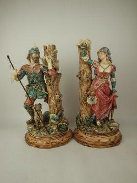 Majolica large Continental pair of figural vases of