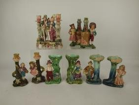 Majolica lot of 5 pair Continental figural vases, and