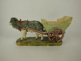 Continental Majolica goat and cart, minor wear,