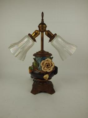 Majolica vase made into a lamp, various condition
