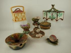 Majolica lot of 8 assorted pieces, various conditions