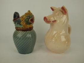 Majolica French fish pitcher and Sarreguemines pig