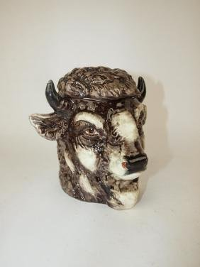 Continental Majolica bison buffalo head figural