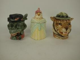 Continental Majolica figural humidor lot of 3: minkey