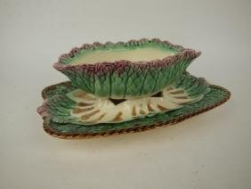 French MAjolica asparagus sauce boat