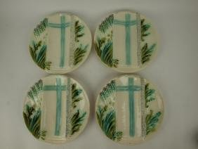 Salins French Majolica set of 4 asparagus plates