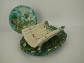 French Majolica asparagus platter & cradle with