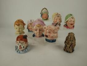 Majolica lot of 9 figural banks of people and animals,