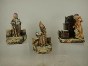 Majolica lot of 3 figural match strikers and smoke sets