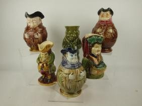 Majolica lot of 6 toby and figural pitchers