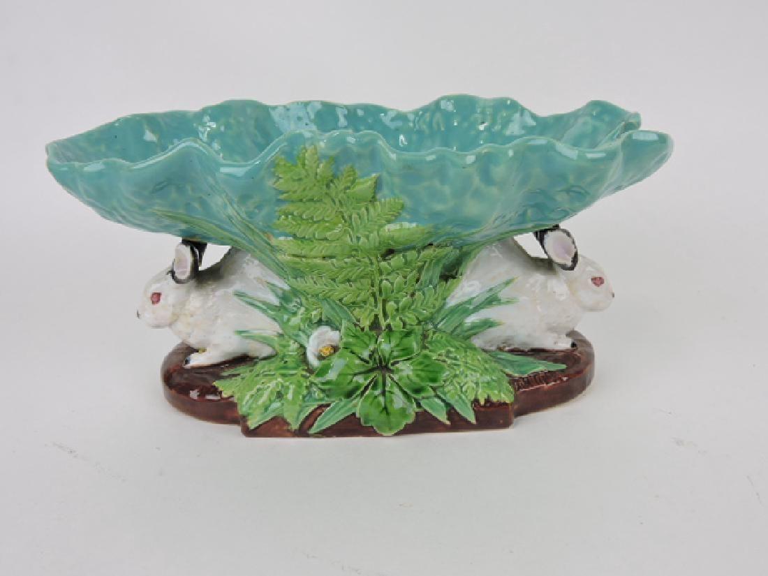 "Minton Majolica under cabbage leaf table center, 9 1/2"""