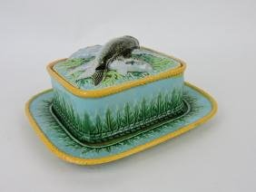 George Jones Majolica sardine box with stand, acanthus