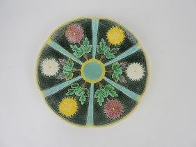 Wedgwood chrysanthemum Majolica plate, hairline repair