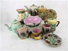 Etruscan Majolica lot of 11 pieces including shell