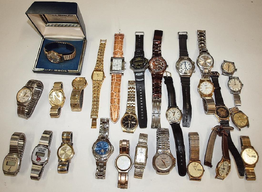 Lot of 27 mens wrist watches: Seiko, Helbros,