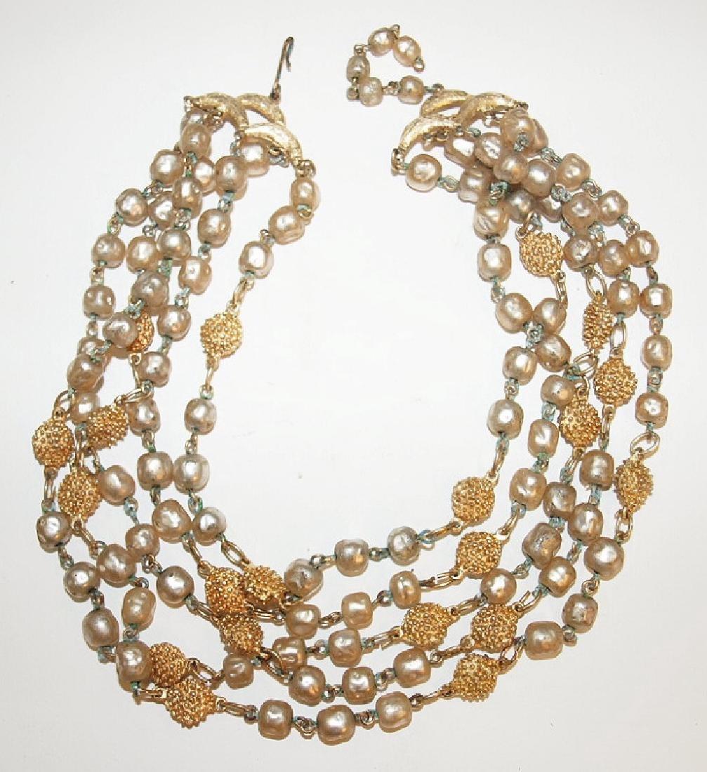 Vintage DeNicola pearl & gold necklace