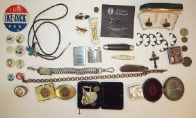 Lotof assorted items: bolo tie, political buttons,