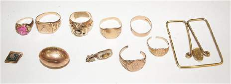 Lot of 10kt  14kt yellow gold jewelry rings money